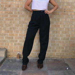 Vtg 80s high waisted black mom pants trousers 7/8